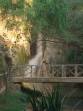 Cachoeira atrás de uma ponte de madeira fotos de stock
