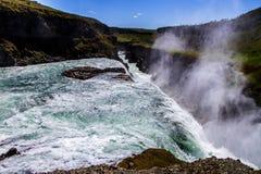 Cachoeira bonita de Gullfoss em Islândia 11 close up 06,2017 imagens de stock royalty free
