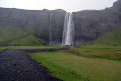 Cachoeira bonita de Seljalandsfoss em Islândia no verão foto de stock