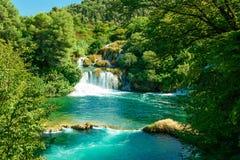 Cachoeira bonita em Krka, parque nacional na Croácia imagens de stock