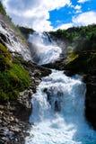 Cachoeira bonita perto de Flåm, Noruega imagens de stock