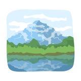 Cachoeira canadense Único ícone de Canadá na Web da ilustração do estoque do símbolo do vetor do estilo dos desenhos animados Fotografia de Stock Royalty Free