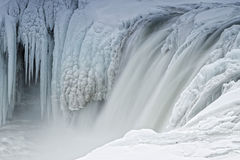 Cachoeira congelada de Godafoss, Islândia Fotografia de Stock