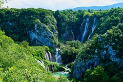 Cachoeira da batida de Veliki, lagos Plitvice, Croácia fotos de stock