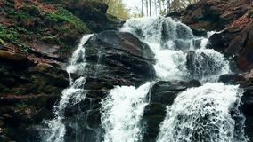 Cachoeira da montanha com água claro na água do movimento lento da floresta video estoque