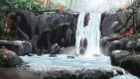 Cachoeira da pintura de Digitas ilustração do vetor