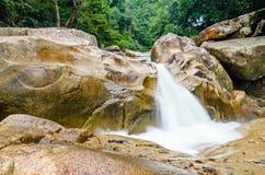 Cachoeira da selva com água de fluxo, grandes rochas Imagens de Stock