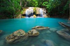 Cachoeira de Erawan, Kanchanaburi, Tailândia Imagem de Stock