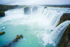 Cachoeira de Godafoss na Islândia do norte Imagens de Stock