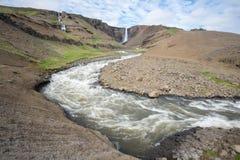 Cachoeira de Hengifoss, Islândia Imagem de Stock