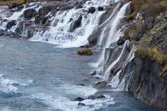 Cachoeira de Hraunfossar no outono imagens de stock royalty free