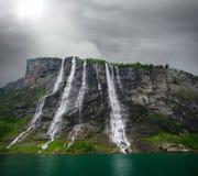 Cachoeira de sete irmãs em Noruega Fotos de Stock Royalty Free