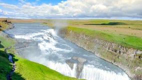 Cachoeira de surpresa de Gullfoss Rota dourada do círculo islândia Fotos de Stock Royalty Free