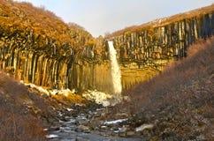 Cachoeira de Svartifoss, Islândia Imagem de Stock
