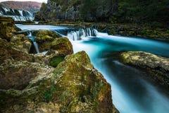 Cachoeira do buk de Strbacki no rio Una na beira de Bósnia e de Croácia foto de stock