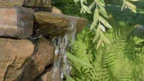 Cachoeira do jardim das pedras volume de água através da pedra O sol da manhã brilha na cachoeira vídeos de arquivo