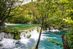 Cachoeira do lago Plitvice, fundo natural do curso da Croácia, n fotos de stock royalty free