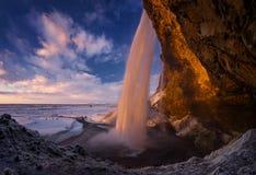 Cachoeira do por do sol de Seljalandsfoss imagens de stock royalty free