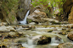 Cachoeira e córrego Imagens de Stock