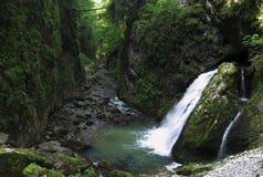 Cachoeira em Cheile Galbenei em montanhas do carst de Bihor em Apuseni em Romênia Foto de Stock