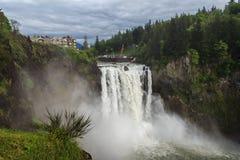 Cachoeira famosa das quedas de Snoqualmie em Washington EUA Fotos de Stock Royalty Free