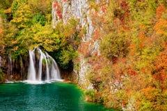 Cachoeira na floresta do outono foto de stock