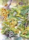 Cachoeira na floresta profunda ilustração do vetor
