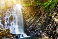 Cachoeira na floresta profunda do musgo, ADN limpo fresco em Carpathians Imagem de Stock