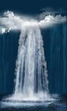 Cachoeira na noite Fotos de Stock Royalty Free
