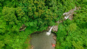 Cachoeira no meio da vista aérea da floresta, zangão Imagem de Stock