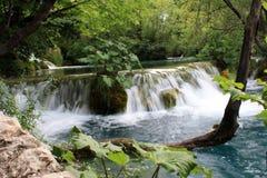 Cachoeira no meio do lago fotografia de stock