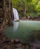 Cachoeira no parque nacional de Erawan, Kanchanaburi, Tailândia Foto de Stock Royalty Free