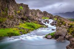 Cachoeira no parque nacional de Thingvellir, Islândia Fotografia de Stock Royalty Free