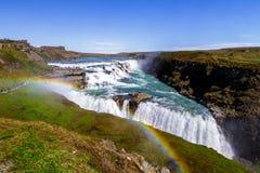 Cachoeira no por do sol, Islândia de Gullfoss, Europa 11 06,2017 imagem de stock