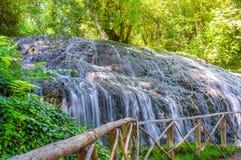 Cachoeira pitoresca cercada pela floresta verde Imagens de Stock Royalty Free