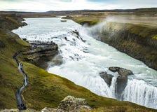 Cachoeira poderosa de Gullfoss em Islândia Fotografia de Stock Royalty Free