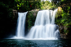 Cachoeira profunda da floresta na boa ilha Tailândia Fotografia de Stock