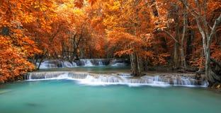 Cachoeira profunda da floresta na cena do outono em Huay Mae Kamin waterfal Imagens de Stock