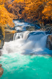 Cachoeira profunda da floresta no outono Fotos de Stock Royalty Free