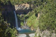Cachoeira Velo de la Novia - Maule, o Chile Fotografia de Stock