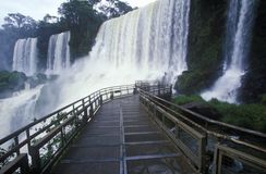 Cachoeiras de Iguazu em Parque Nacional Iguazu, beira de Brasil e de Argentina Foto de Stock