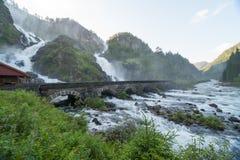 Cachoeiras de Laatefoss, Noruega Imagem de Stock Royalty Free