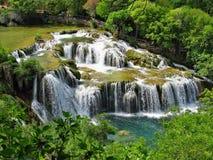 Cachoeiras do rio de Krka no parque nacional de Krka fotografia de stock