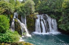 Cachoeiras do rio de Una em Martin Brod Imagem de Stock