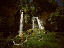 Cachoeiras duplas dentro de uma paisagem verde foto de stock royalty free