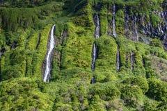 Cachoeiras na ilha de Flores, arquipélago de Açores (Portugal) Fotos de Stock