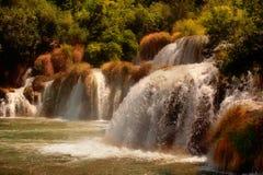Cachoeiras no parque nacional de Krka, Croatia imagens de stock