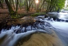 Cachoeiras pequenas na manhã Fotos de Stock Royalty Free