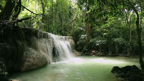 Cachoeiras tropicais da floresta em Tailândia vídeos de arquivo