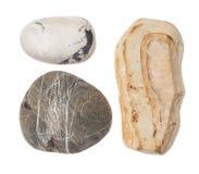 Cacholong dolomitesten på vit bakgrund Arkivfoton